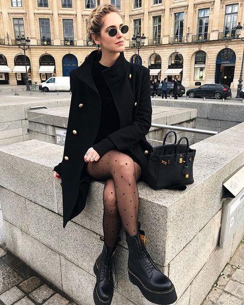 Street fashion, Clothing, Black, Fashion, Footwear, Snapshot, Eyewear, Outerwear, Leg, Coat,