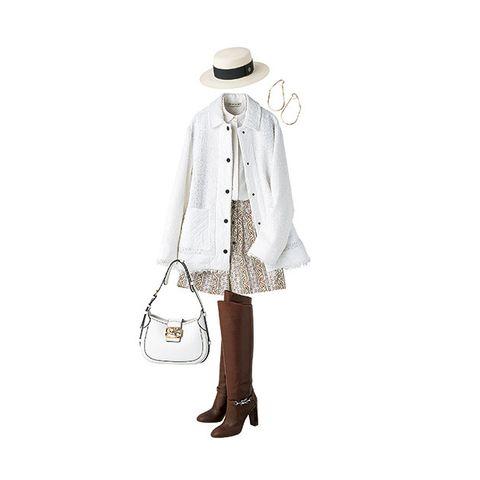 White, Clothing, Shoulder, Outerwear, Beige, Footwear, Fashion, Coat, Dress, Sleeve,