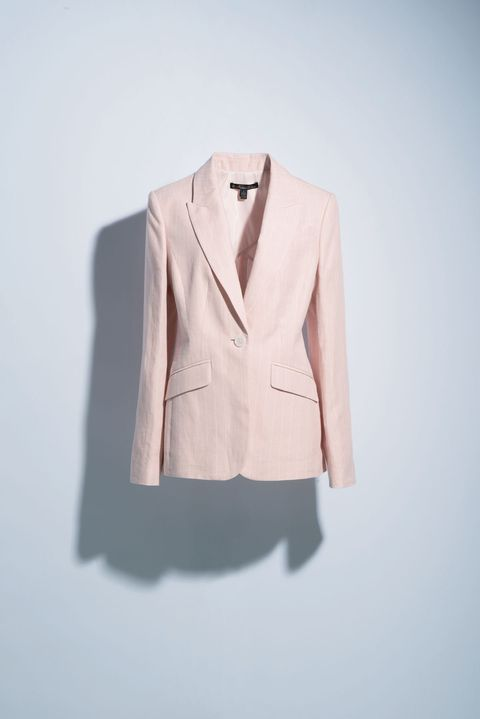 Clothing, White, Outerwear, Blazer, Jacket, Beige, Pink, Suit, Formal wear, Top,