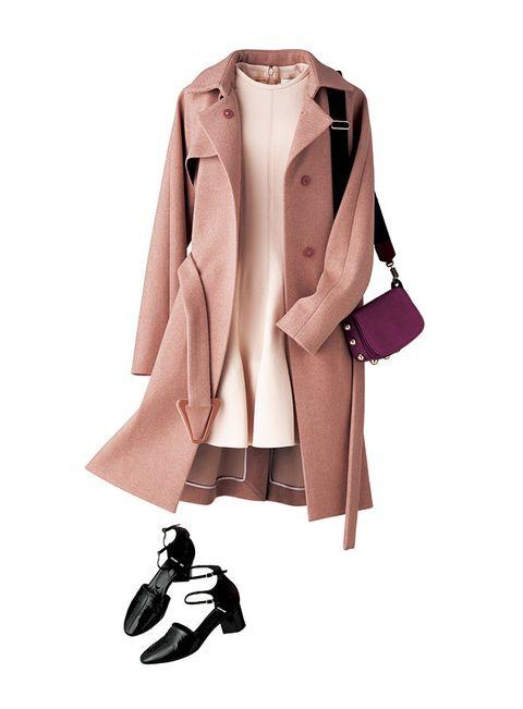 Clothing, Coat, Trench coat, Outerwear, Pink, Overcoat, Sleeve, Beige, Collar, Blazer,