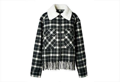 Plaid, Clothing, Tartan, Pattern, Sleeve, Outerwear, Textile, Design, Collar, Hood,