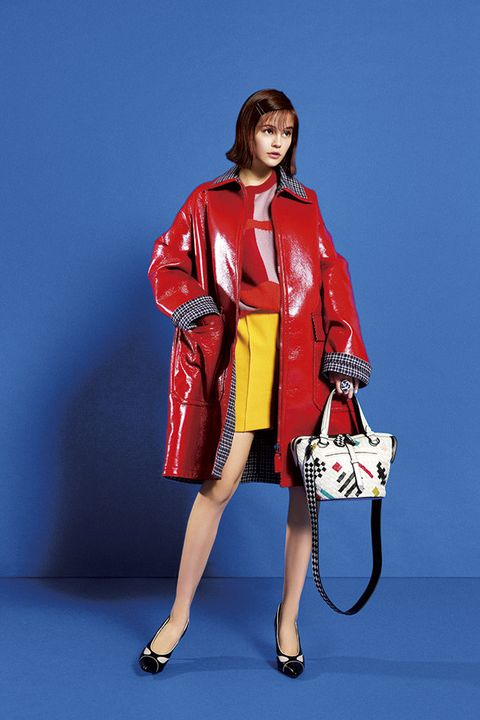 Clothing, Fashion model, Red, Fashion, Trench coat, Coat, Outerwear, Leg, Fashion design, Photo shoot,