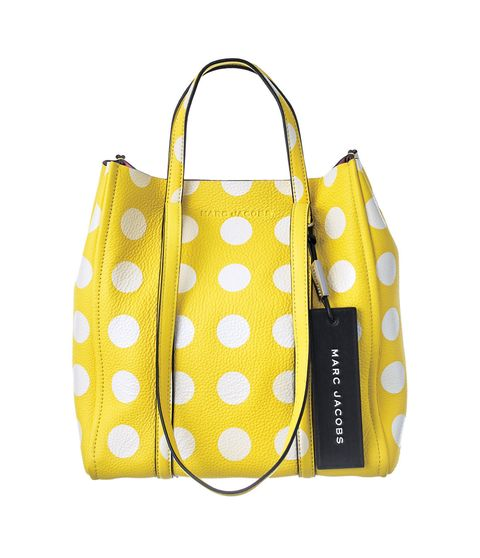Bag, Handbag, Yellow, Polka dot, Shoulder bag, Fashion accessory, Pattern, Design, Material property, Tote bag,