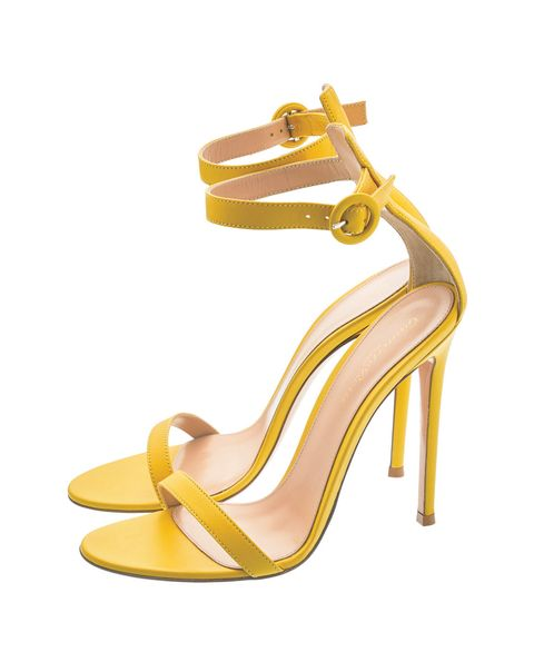 Footwear, High heels, Sandal, Yellow, Shoe, Basic pump, Slingback, Beige, Leather, Strap,