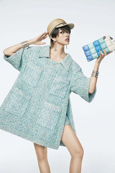 Clothing, Shoulder, Blue, Dress, Turquoise, Fashion, Joint, Fashion model, Sleeve, Day dress,