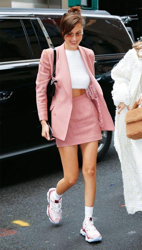 Clothing, Pink, Street fashion, White, Fashion, Footwear, Snapshot, Shoe, Outerwear, Leg,