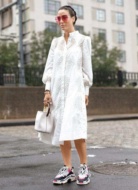 White, Clothing, Street fashion, Photograph, Fashion, Footwear, Dress, Snapshot, Shoe, Outerwear,