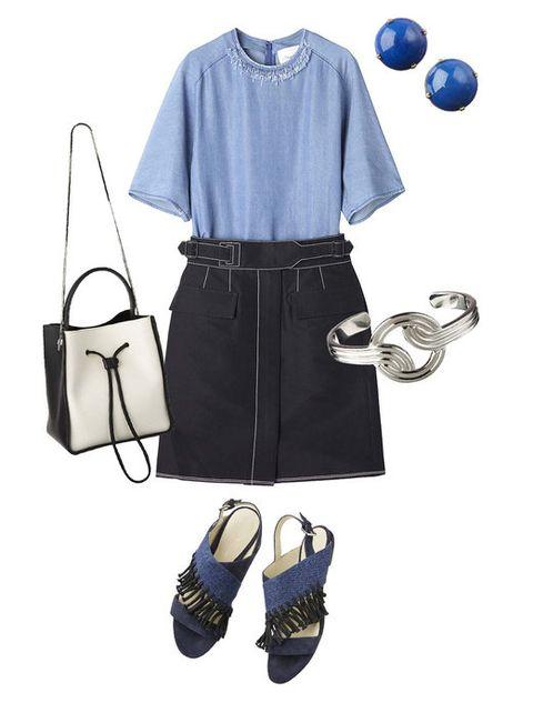 Blue, Product, Sleeve, Collar, White, Style, Bag, Pattern, Fashion, Black,