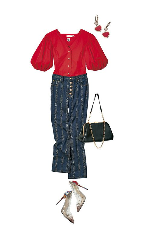 Clothing, Footwear, Denim, Jeans, Shoulder, Sleeve, Joint, Outerwear, Fashion illustration, Blouse,