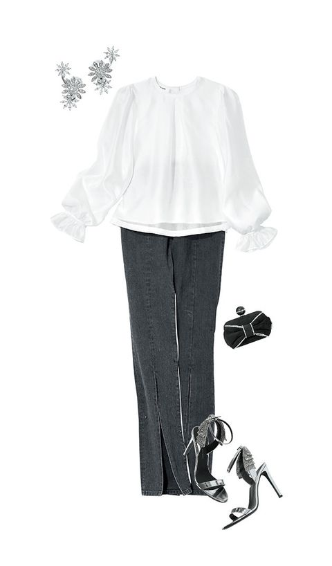 White, Clothing, Footwear, Sleeve, Blouse, Black-and-white, Shirt, Formal wear, Illustration, Trousers,