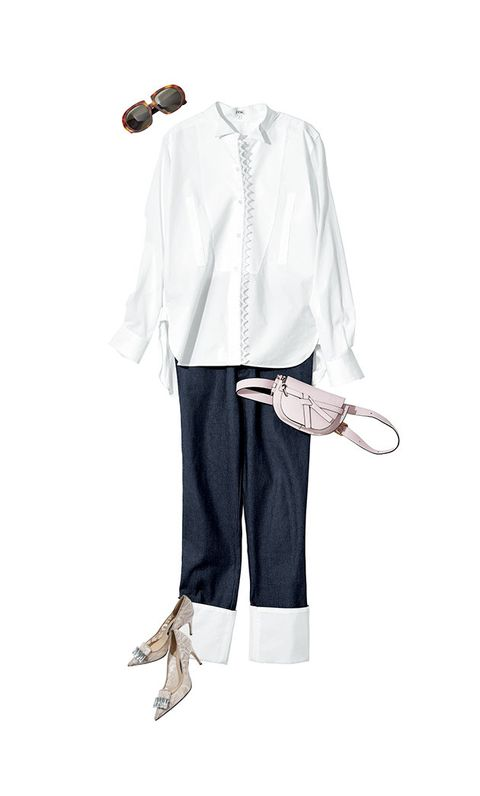 White, Clothing, Sleeve, Costume, Footwear, Outerwear, Trousers, Textile, Neck, Denim,