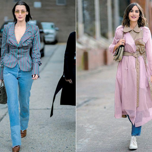 Clothing, Street fashion, Pink, Fashion, Jeans, Denim, Dress, Footwear, Fashion model, Shoulder,