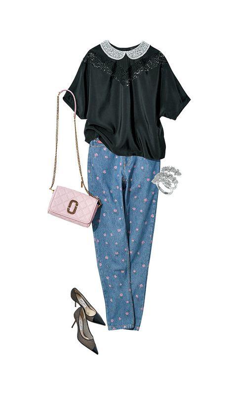 Clothing, Sleeve, Footwear, Trousers, Design, Blouse, T-shirt, Pattern, Jeans, Shoe,