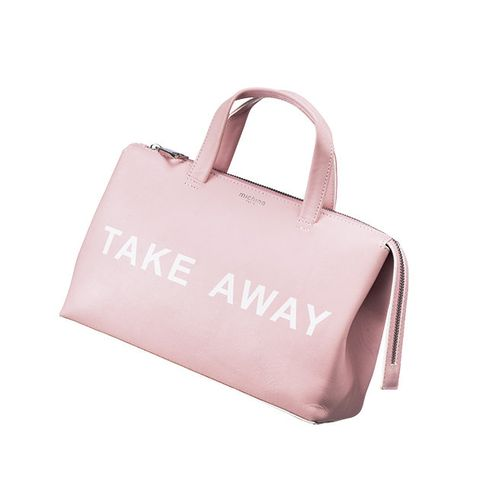 Bag, Handbag, Pink, Fashion accessory, Luggage and bags, Material property, Font, Tote bag, Shoulder bag,