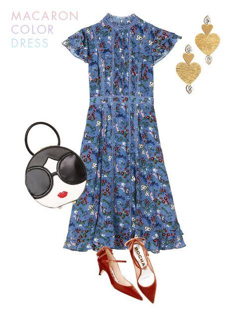 Clothing, Blue, Dress, Fashion illustration, Sleeve, Illustration, Fashion, Footwear, Pattern, Design,