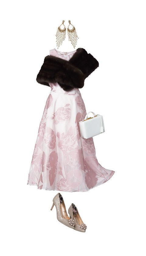 Clothing, Dress, Pink, Footwear, Fashion, Shoe, Fur, Gown, Formal wear, Costume design,