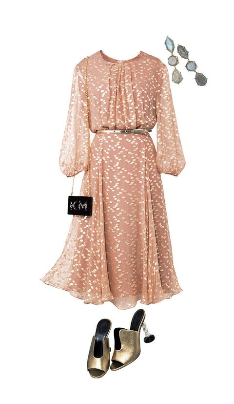 Clothing, Dress, Pink, Sleeve, Beige, Peach, Footwear, Day dress, A-line, Neck,