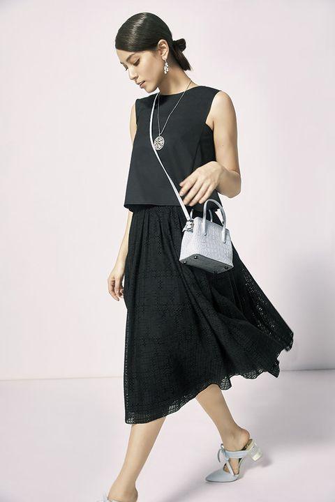 Clothing, Fashion model, Shoulder, Black, Waist, Dress, Fashion, Neck, Footwear, Joint,