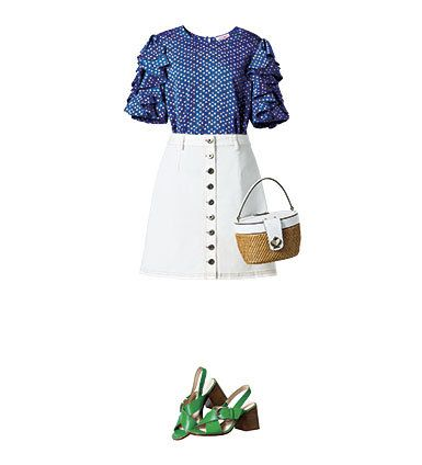 Clothing, White, Green, Product, Dress, Footwear, Shoulder, Sleeve, Blouse, Shoe,