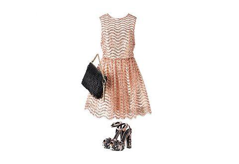 Clothing, Dress, Beige, Brown, Fashion, Footwear, Day dress, Neck, Fashion accessory, Cocktail dress,