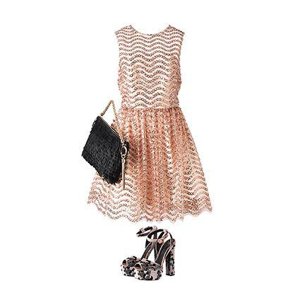 Clothing, Dress, Beige, Brown, Day dress, Fashion, Footwear, Neck, Fashion accessory, Cocktail dress,