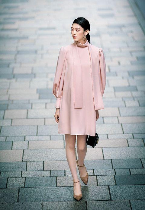 Clothing, Pink, White, Photograph, Shoulder, Street fashion, Fashion model, Fashion, Dress, Skin,