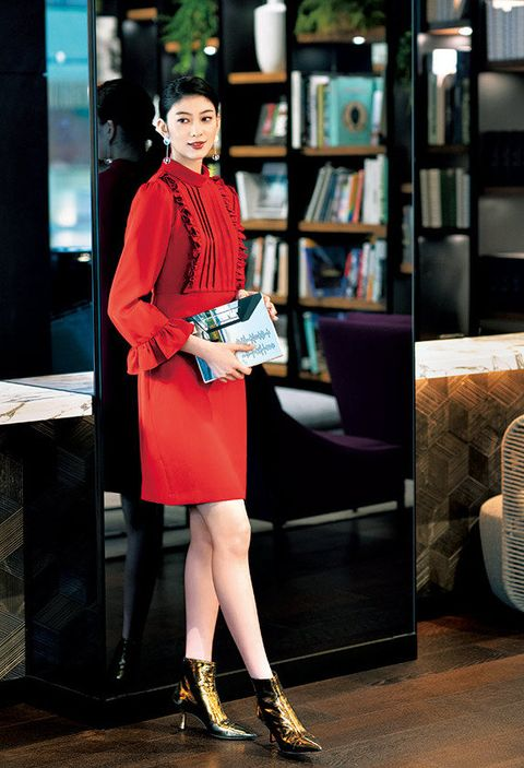 Clothing, Red, Street fashion, Fashion, Pink, Shoulder, Footwear, Dress, Leg, Outerwear,