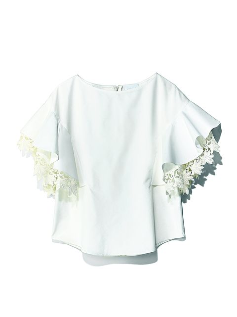 Clothing, White, Sleeve, Shoulder, Blouse, Outerwear, Top, T-shirt, Lace, Neck,