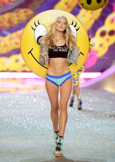 Fashion show, Fashion, Fashion model, Runway, Clothing, Lingerie, Bikini, Public event, Blond, Model,