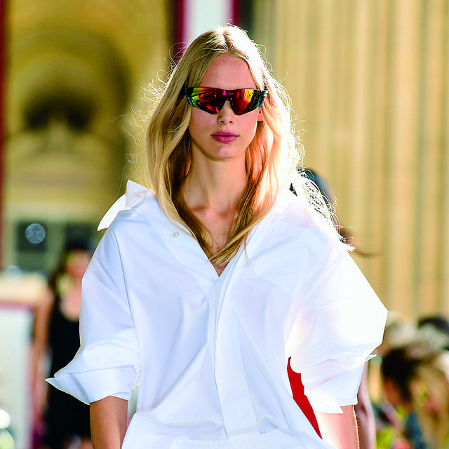 Eyewear, White, Fashion, Clothing, Sunglasses, Street fashion, Fashion model, Blond, Pink, Beauty,