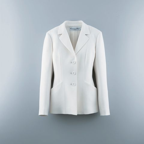 Clothing, White, Outerwear, Blazer, Jacket, Formal wear, Suit, Sleeve, Top, Button,