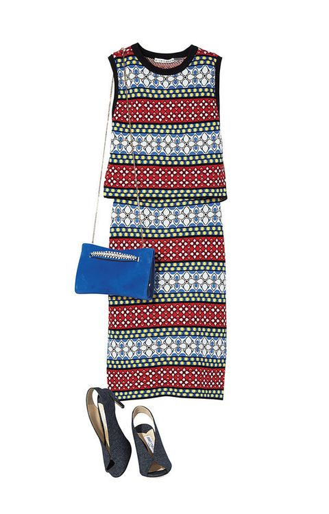 Clothing, White, Blue, Dress, Footwear, Sleeve, Day dress, Outerwear, Textile, Pattern,