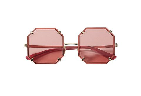 Pink, Glasses, Eyewear, Fashion accessory, Auto part, Personal protective equipment, Jewellery, Metal,