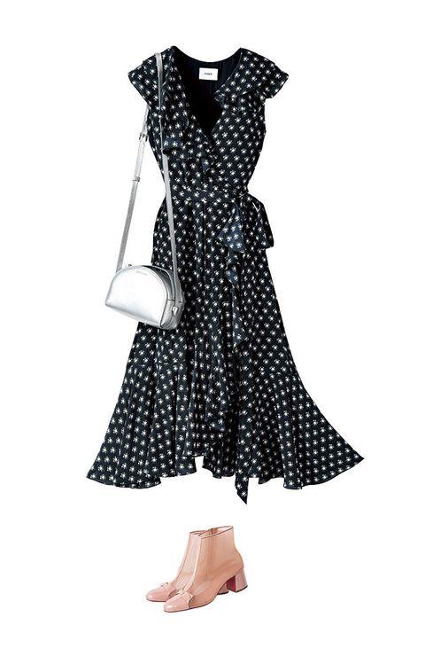Clothing, Dress, Day dress, Pattern, Polka dot, Design, Cocktail dress, Sleeve, Pattern, Black-and-white,
