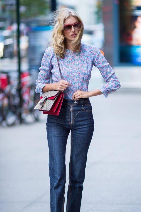 Jeans, Denim, Clothing, Plaid, Street fashion, Blue, Fashion, Footwear, Shoulder, Waist,