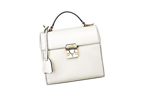 Handbag, Bag, White, Shoulder bag, Fashion accessory, Leather, Product, Kelly bag, Material property, Beige,