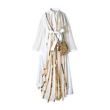 White, Clothing, Beige, Clothes hanger, Dress, Outerwear, Costume, Costume design,