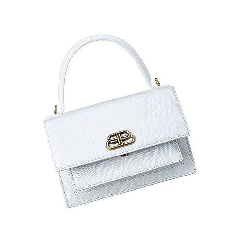 Handbag, Bag, White, Fashion accessory, Shoulder bag, Kelly bag, Leather, Material property, Silver, Beige,
