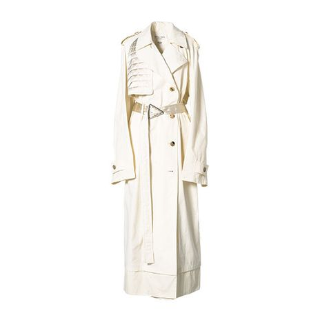 Clothing, Trench coat, Coat, Robe, Outerwear, Beige, Dress, Sleeve, Uniform, Overcoat,