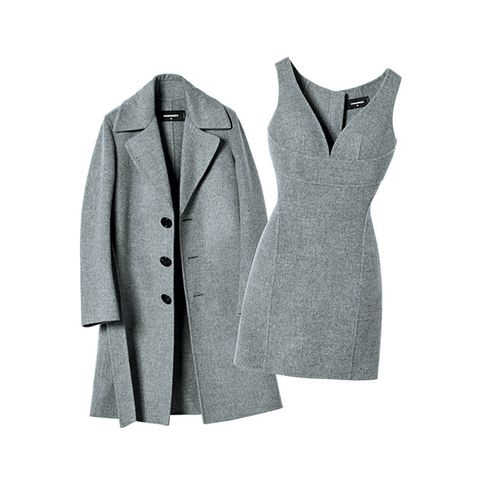 Clothing, Coat, Outerwear, Suit, Formal wear, Overcoat, Grey, Sleeve, Trench coat, Pattern,