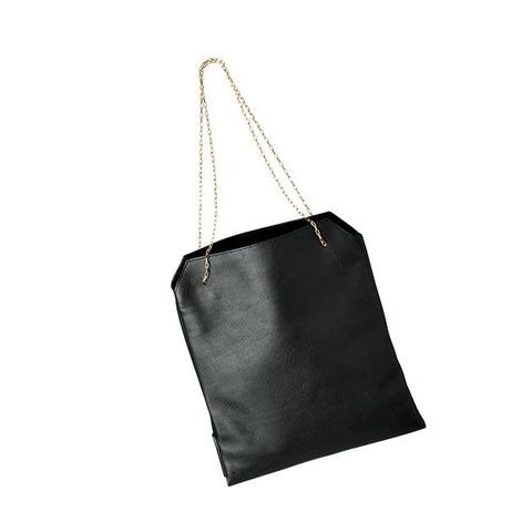 Bag, Handbag, Black, Leather, Fashion accessory, Shoulder bag, Tote bag, Material property, Chain, Black-and-white,