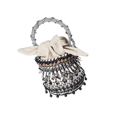 Product, Bag, Basket, Handbag, Fashion accessory, Beige, Shoulder bag, Chain, Storage basket,