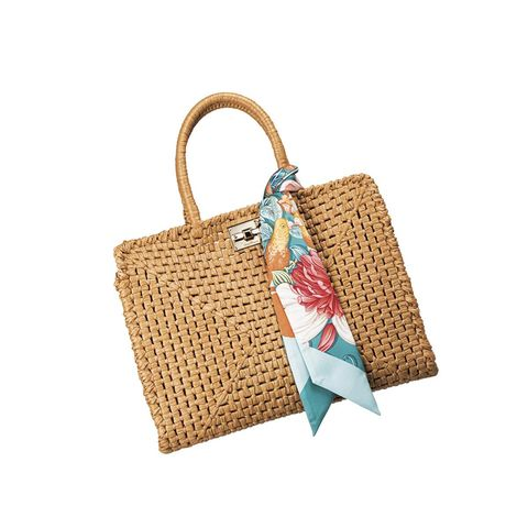 Turquoise, Wicker, Handbag, Bag, Fashion accessory, Beige, Rectangle, Turquoise, Picnic basket,
