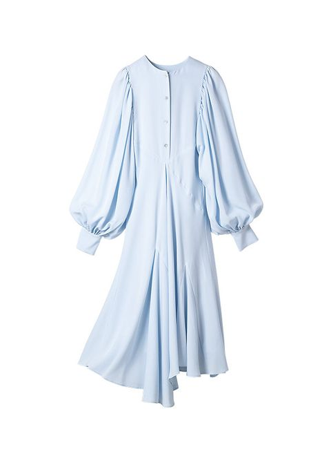 Clothing, White, Blue, Sleeve, Outerwear, Dress, Blouse, Robe, Neck, Top,