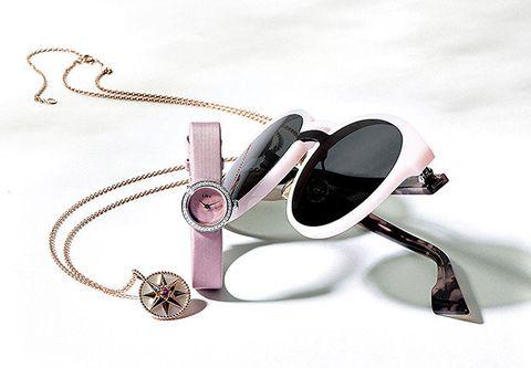 Eyewear, Glasses, Fashion accessory, Pink, Jewellery, Sunglasses, Personal protective equipment,