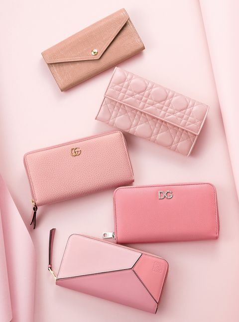 Pink, Wallet, Coin purse, Fashion accessory, Material property, Font, Bag, Handbag, Leather, Brand,
