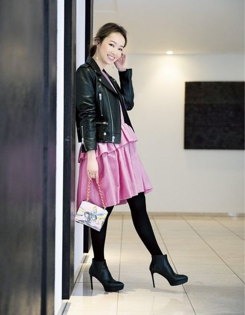 Clothing, Pink, Tights, Leg, Fashion, Leather, Snapshot, Footwear, Leather jacket, Knee,