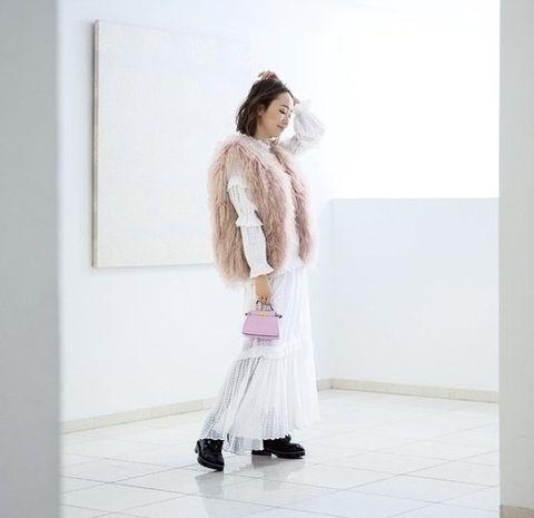 White, Clothing, Fur, Pink, Fashion, Dress, Outerwear, Shoulder, Cardigan, Footwear,