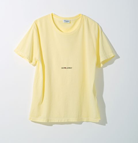Clothing, White, T-shirt, Yellow, Sleeve, Active shirt, Top, Blouse, Font, Outerwear,