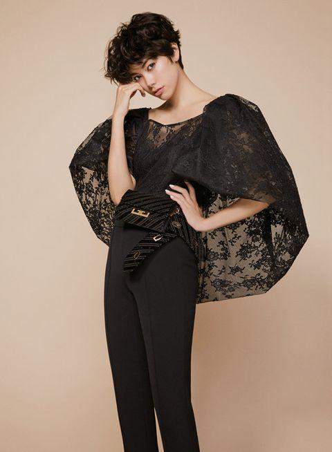 Clothing, Black, Shoulder, Leggings, Fashion, Tights, Beauty, Leg, Waist, Dress,